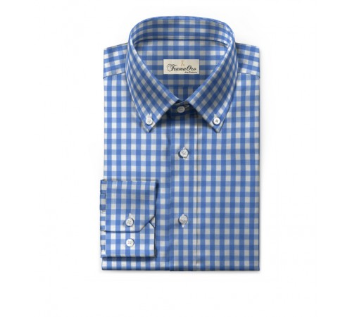 Camicia bianca con Quadrettino blu modello Botton down