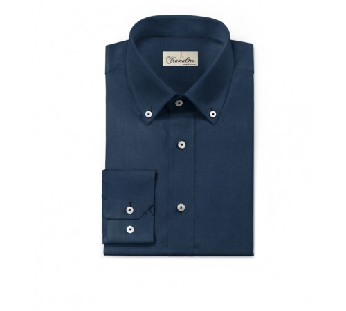 Camicia Tinta Unita blu Modello botton down